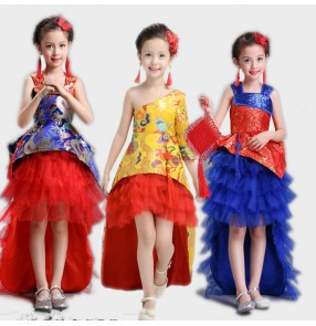 Girls chins style party show dresses royal blue gold red dragon singers princess chorus stage performance long tail dresses