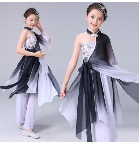 Girls classical chinese yangko dance pink colored fan dance costumes children performance dance costume elegant chiffon ethnic stage costume
