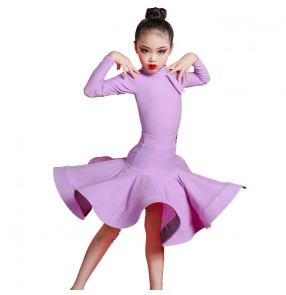 Girls competion latin dance dresses for kids purple yellow pink latin dance costumes for children salsa ballroom dance dress for girls