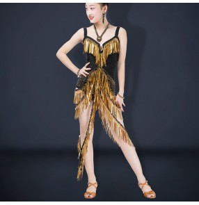 Girls competition latin dance dresses stage performance salsa rumba chacha dance dress latin dance costumes for kids