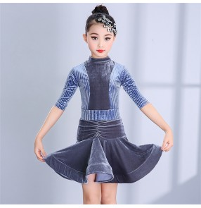 Girls competition latin dresses children kids ballroom salsa chacha dance skirts costumes dresses
