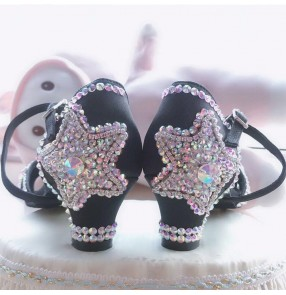 Girls competition rhinestones black Latin Dance Shoes 4.5cm Heels Girls with diamond shoes diamond-studded children girls Chacha dance shoes soft bottom thick heel