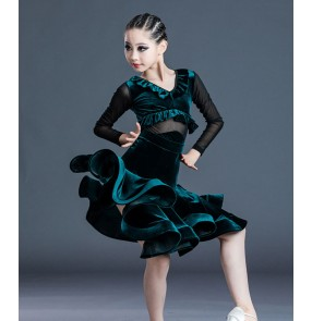 Girls dark green velvet latin dance dress salsa rumba ballroom dance dress latin dance costumes for kids children