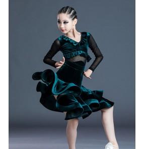 Girls dark green velvet latin dance dress salsa rumba ballroom dance dress latin dance costumes for kids children