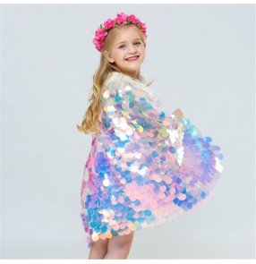 Girls drama cosplay bling mermaid cloak kids stage performance shiny sequin princess sweet cloak Cape sirène enfant