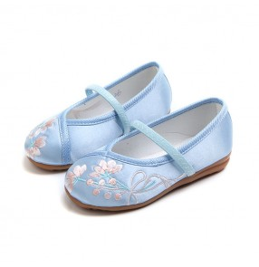 Girls embroidery soft soles folk dance shoes stage performance photos princess cosplay dancing flats