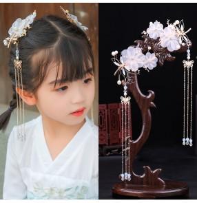 Girls fairy princess Hanfu headwear Children's antique hair accessories girl baby ancient headdress hairpin girls tassels hairpin