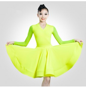Girls green wine red competition latin dance dresses carnival stage perfromance  latin dance costumes