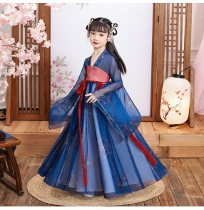 Girls' Hanfu Children's chinese fairy princess dresses Wide-sleeved fairy Chinese style princess full chest skirt Guzheng performance costume