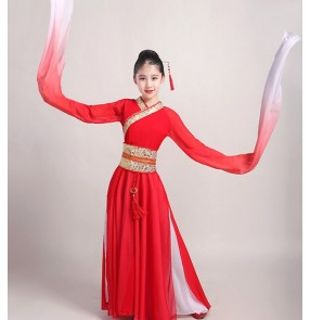 Girls hanfu chinese folk dance dresses for kids chinese ancient classical dance princess water sleeves fairy dance dresses