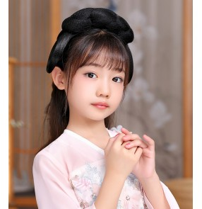 Girls Hanfu fairy dress cosplay Wig chinese ancient folk costumes Hair Band for kids film drama cosplay photos shooting antiquity Bun Hair styling wig
