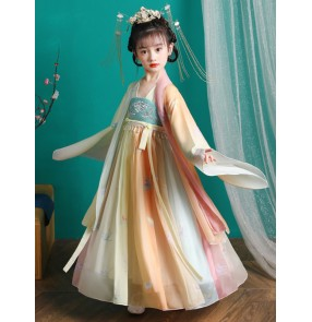 Girls' Hanfu Fairy Dresses Chinese style Tang Dynasty drama empress costume waist long-sleeved dress with big sleeves