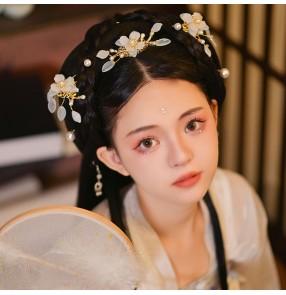 Girls Hanfu Fairy Headdress film photos shooting cosplay flower Hairpin Set  ancient chinese folk costume hair accessories Female daily antiquity barrette