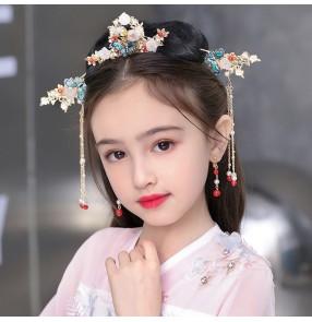 Girls Hanfu fairy princess cosplay headwear headdress children chinese costume stage performance hair accessories Ancient style hairpin studio accessories