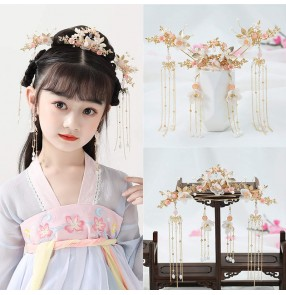 Girls hanfu kimono dress headdress photos drama cosplay fairy princess empress hair accessories hairpin for kids