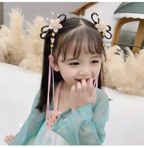 Girls Hanfu kimono dresses hairpin wig fairy princess dresses hair ornament bowknot flower streamer antique costume headdress hair accessories