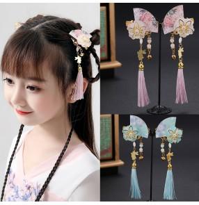 Girls hanfu princess fairy hairpin headdress children's antique style tassel hairpin pair clip antique ornament butterfly Hanfu hair accessory