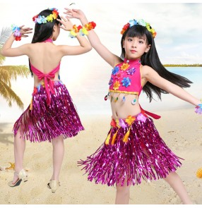 Girls Hawaiian Hula performance costumes for children grass hula Skirt top Hula dance dress Party Hawaii Beach stage performance cosplay costumes