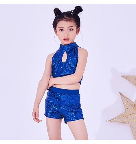 Girls hiphop dance costumes for boys silver red white paillette street  dance rap jazz singers model show cheerleaders modern dance tops and shorts