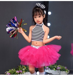 Girls jazz dance dresses costumes de pom-pom girls pour enfants kids cheer leaders jazz chorus singers performance costumes