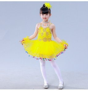 Girls jazz dress kids modern dance princess dresses robe de danse jazz pour enfants