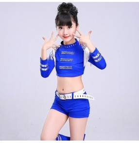 Girls jazz hiphop dance outfits modern dance dj ds cheerleader stage performance singers dancers tops and shorts