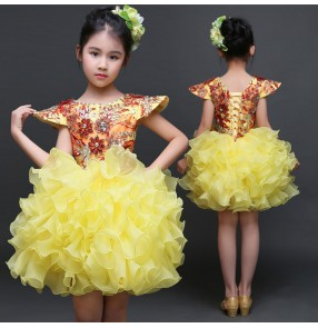 Girls jazz modern dance dress kids evening party princess gold rhinestones stage performance cosplay ballet show cosplay dresses costumes