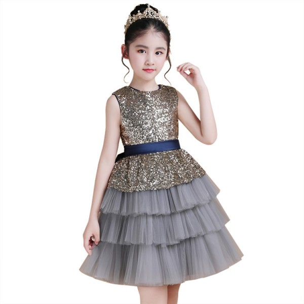 76a7fe1edf1 Girls jazz princess dress modern dance flower girls piano stage performance  birthday party celebration paillette ruffles skirt ballet princesses dresses