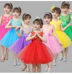 Girls jazz singers ballet dress modern dance kids children host stage performance princess flowers dress