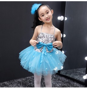 Girls jazz singers princess modern dance dresses robe de jazz princesse pour enfants school show competition costumes dresses