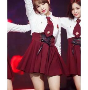 Girls JK uniforms jazz gogo dancers outfits female group students graduation class uniforms cheerleaders cheerleading performance group dancers performance costumes