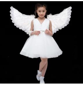 Girls kids angel fairy performance princess dresses video online competition jazz dance singers host cosplay dress