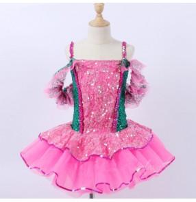 Girls kids baby modern dance ballet dance dresses pink with green sequin ballet dance costumes