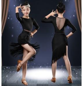 Girls kids black latin dance dresses tassels modern dance ballroom latin dance dress for girls stage performance dance wear for kids