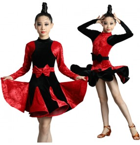 Girls kids Black red velvet latin dance dress long sleeves patchwork stage performanace ballroom latin dance dress for girls