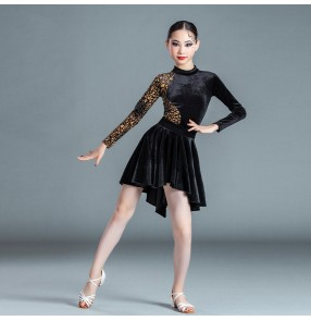 Girls kids black velvet latin dance dresses competition stage performance latin ballrom dance costumes ballroom dance wear for girls