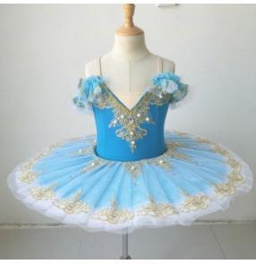 Girls kids blue ballet dance dress little swan lake ballerina pancake skirt stage performance ballet dresses