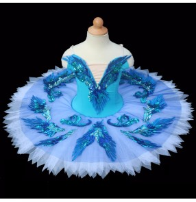 Girls kids blue birds swan lake ballet dance dresses competition tutu pancake skirt ballet dance costumes