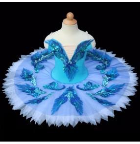 Girls kids blue birds swan lake ballet dance dresses competition tutu pancake skirt ballet dance costumes