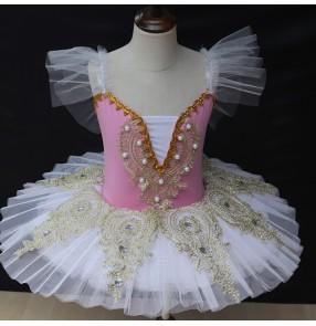 Girls kids blue pink red ballet dance dress little swan lake Tutu skirt girls pancake ballerina classical ballet dance costumes for children