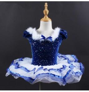 Girls kids blue velvet ballet dance dresses stage performance fluff skating dresses