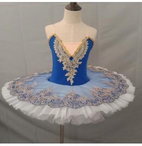 Girls kids blue with white little swan lake ballet dance dresses ballerina tutu skirt ballet dance dress costumes