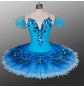 Girls kids children ballet dance dress blue birds swan lake classical tutu pancake skirt ballerina ballet dance dress