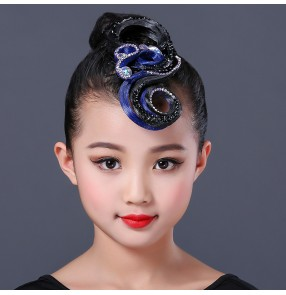 girls kids children ballroom latin competition dance rhinestones hair bangs wig headdress hair accessories
