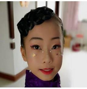 Girls kids children ballroom latin dance competition headdress stage performance salsa dance hair accesories wig side bangs