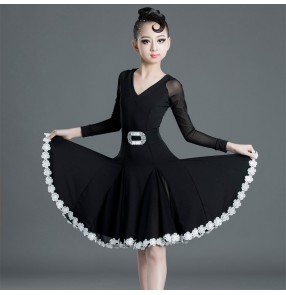 Girls kids children black latin dance dresses