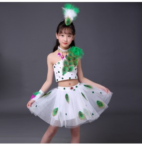 Girls kids children jazz dance peacock dance dresses stage performance modern dance drama cosplay dress costumes