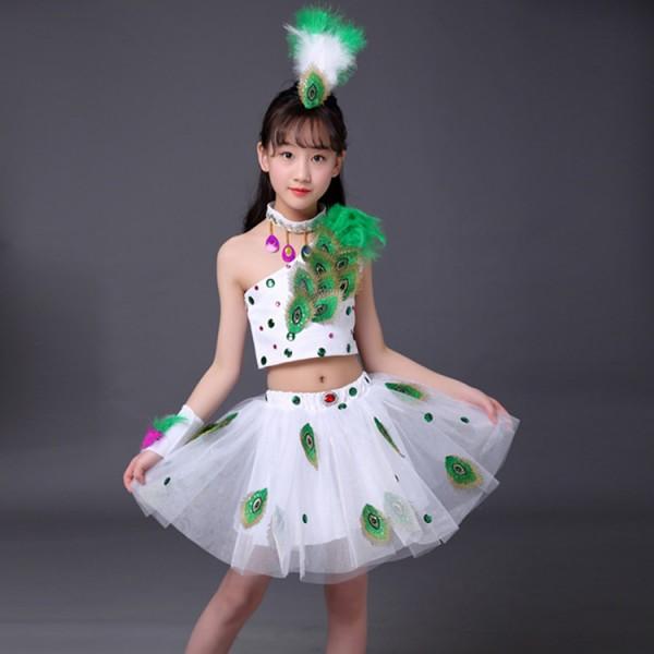 3d1d56266 Girls kids children jazz dance peacock dance dresses stage performance  modern dance drama cosplay dress costumes