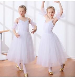 Girls kids children modern dance long length swan lake ballet dress kids children stage performance tutu dress