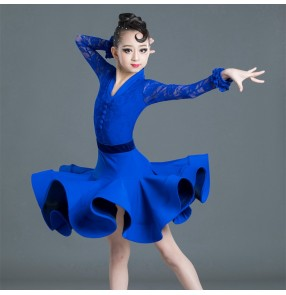 Girls kids children yellow royal blue lace latin dance dresses competition stage performance ballroom latin dresses for children